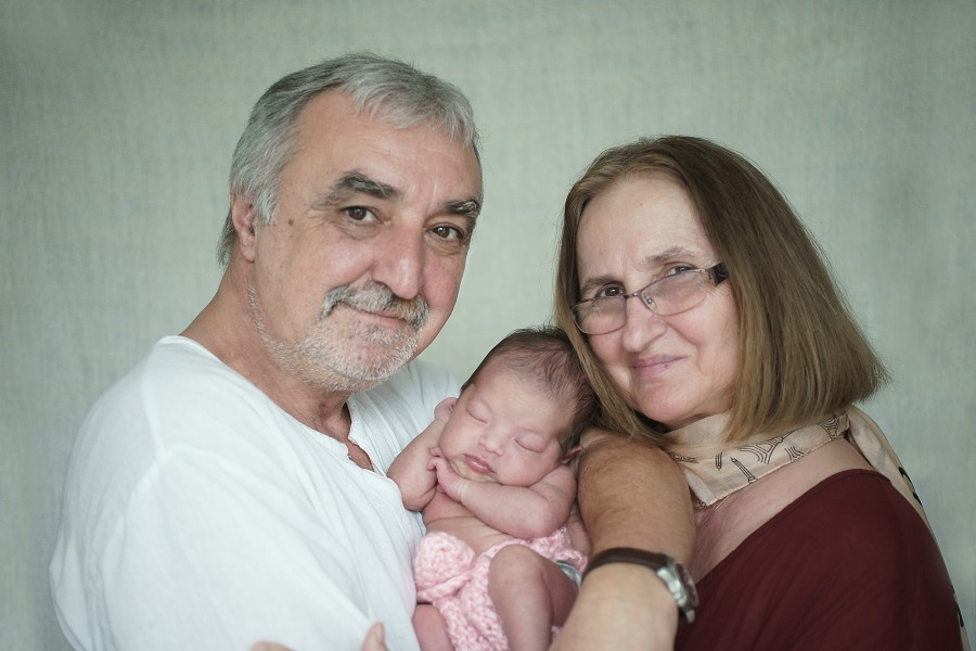 Newborn photography with Grandparents